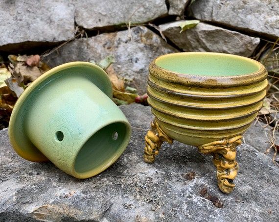 ceramic french butter dish in golden yellow, black, and melon green