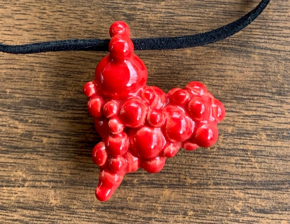 ceramic many ball heart pendant in neon red