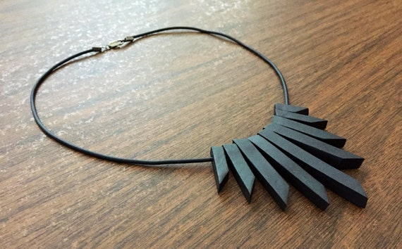 black bare clay bead statement necklace