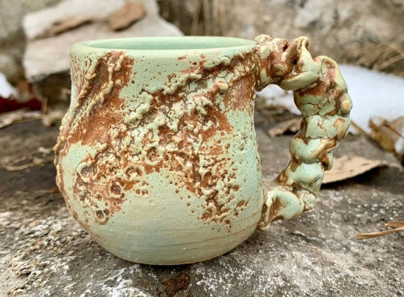 ceramic espresso mug in melon green and brown