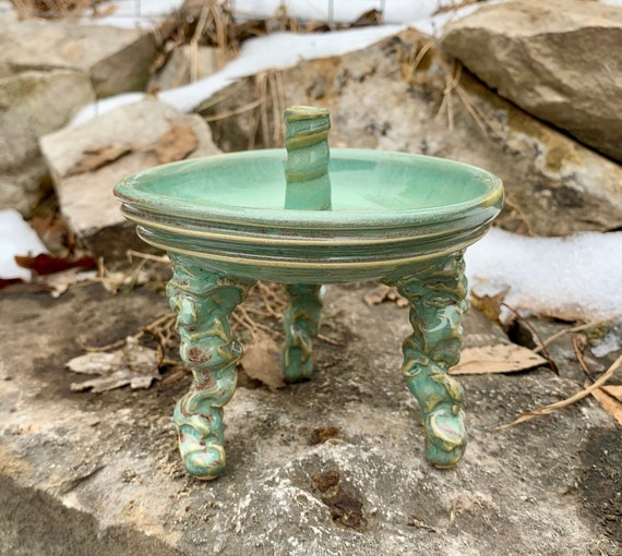 ceramic incense holder in turquoise green