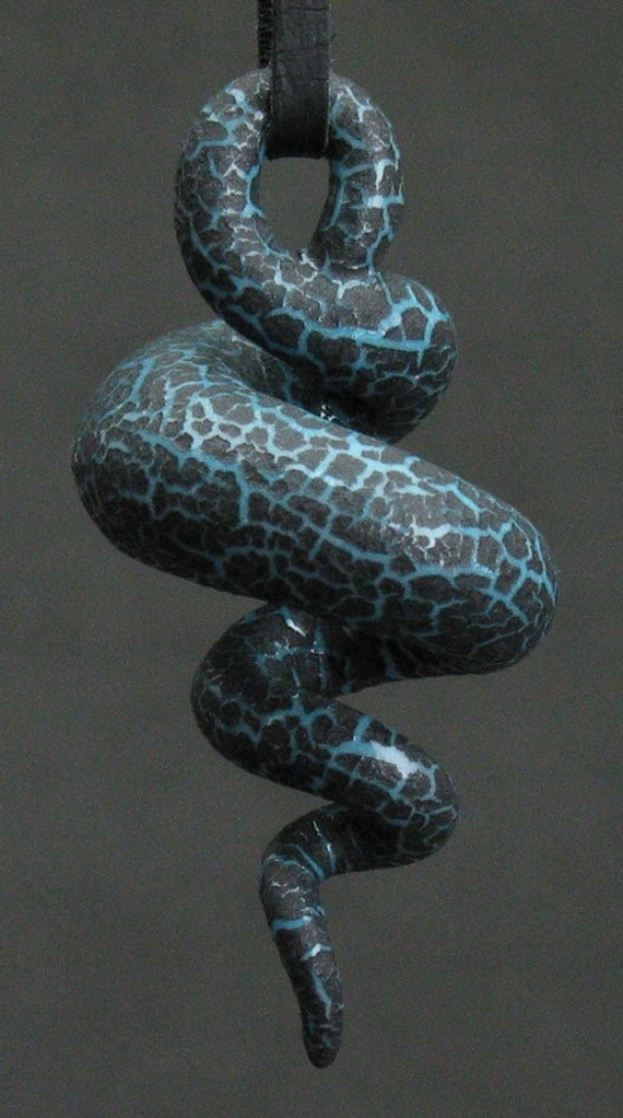 squiggly organic swirl turquoise blue and black crackle ceramic pendant