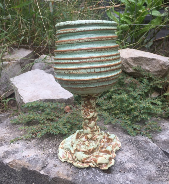 ceramic goblet or wine glass in melon green and reddish brown