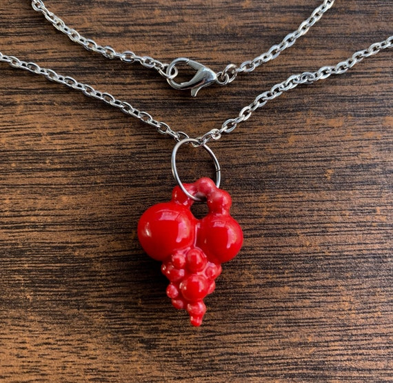 porcelain bright red ball heart pendant