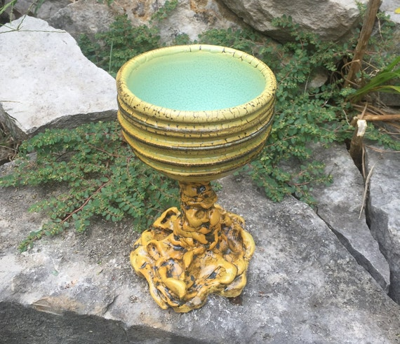 ceramic goblet or wine glass in golden yellow, melon green, and black