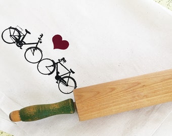 Bike love wedding anniversary organic kitchen dish towel. Silk screened cotton tea towel.