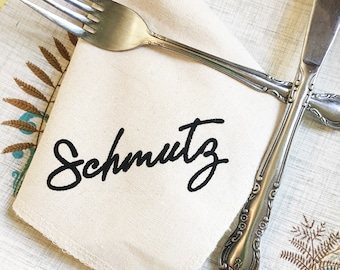 Schmutz Napkin Handkerchief 100% Organic Cotton Silk Screened Zero Waste Reusable Eco Friendly Waste Free