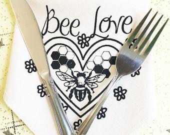 Bee Love Napkin Hankie Handkerchief  100% Organic Cotton Reusable Zero Waste Eco Friendly Waste Free
