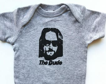 Baby onesie. The Dude from The Big Lebowski. Silk screened childrens sleeper bodysuit.
