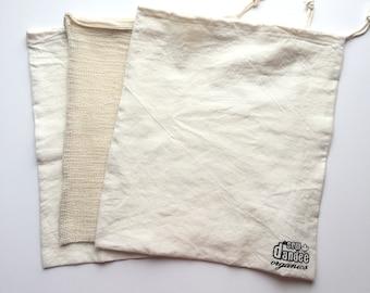 Organic Cotton Hemp reusable zero waste produce bulk food grocery bag. Waste free plastic free eco friendly living.