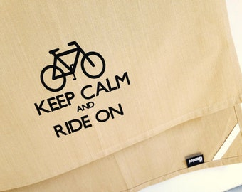 SALE My 'Keep Calm and Ride On' kitchen dish towel. Silk screened cotton tea towel.