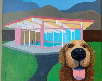 Modern Golden - Mid Century Modern dog painting with MCM pool house Golden Retriever