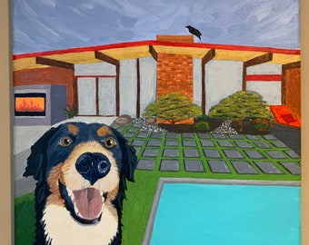 Modern Bernese Mountain Dog - Mid Century Modern dog painting with MCM house