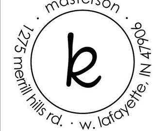 circle initial rubber address stamp