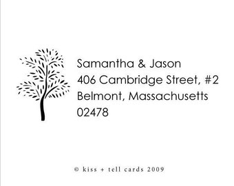 custom address rubber stamp with tree