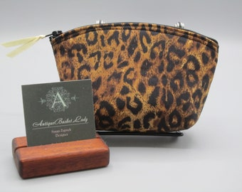 Leopard Small Clutch, Animal Print Cosmetic Bag, Leopard Purse, Leopard Essential Oil Case