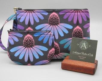 Floral Pouch Travel Purse, Cone Flower Travel Clutch Wristlet, Antiquebasketlady, Echinacea Glow in Amethyst Wristlet set