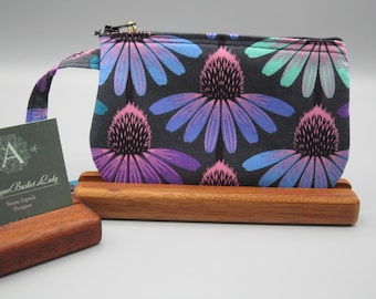 Anna Maria Horner Fabric, Echinacea Glow in Amethyst Floral Pouch, Clutch, Coneflower Zipper Gadget Purse, Gift for Her