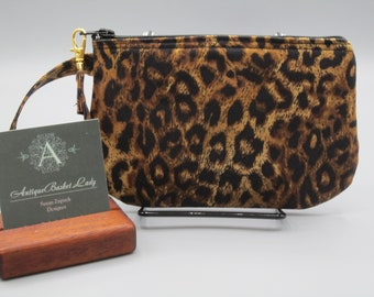 Leopard Wristlet Animal Print Pouch, Leopard Clutch, Gift for Her