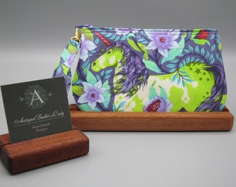 Tula Pink Magical Unicorn Wristlet, Zipper Gadget Unicorn Pouch, Unicorn Purse Gift for Her Antiquebasketlady