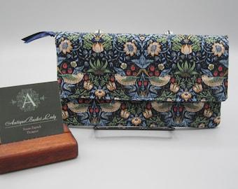 William Morris Strawberry Thief Minimalist wallet , Adapted Noodlehead wallet, Slim wallet in Navy, Cell Phone Wallet Antiquebasketlady