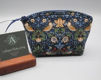 Strawberry Thief Small Clutch, Cosmetic Bag, Clutch, Purse, Essential Oil Case, William Morris Inspired Fabric in Indigo