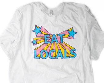 Eat Locals white tee shirt
