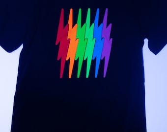 Rainbolt super bright rainbow lightning bolt black light tee