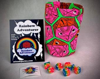 Bwana Spoons Blacklight reactive Rainbow Adventurer Dice bag kit with Rainbow Glow dice set