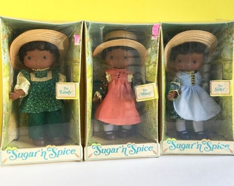 Vintage Black Vinyl Dolls, Set of 3, New in Box, Knickerbocker, K.T.C., Sugar 'n Spice, African American Doll, Silky, Lindy, Missy, 1975