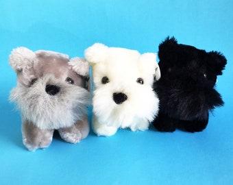 Set of 3 Dogs, Scottish Terrier, West Highland Terriers, Westies, Scottie Dogs, Stuffed Animals, 1988, Chrisha, Vintage Plush