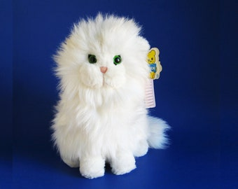 Fluffy White Cat, Stuffed Animal, Pink Brush, Dakin, Green Eyes, 1980s Toy, Vintage Plush, Princess Persian