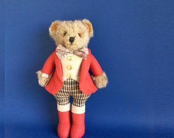 Huntsman Teddy Bear, Stuffed Animal, Equestrian, Little Folk, Tiverton, Devon, England, 1980s Toy, Vintage Plush