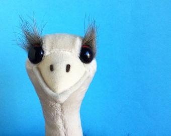 Large Ostrich, Stuffed Animal, Bendable Legs, Dakin, 1990s Toy, Vintage Plush