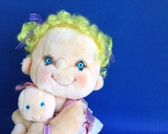 Hugga Bunch Dolls, Precious Hugs with Baby, Extra Outfit, 1985, Kenner Hallmark Cards, 17 inch doll, HuggaBunch, 80s Toy, Vintage Plush
