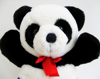 Panda Bear, Teddy Bear, Dakin Cuddles, Original Red Ribbon, stuffed animal, Vintage 1987