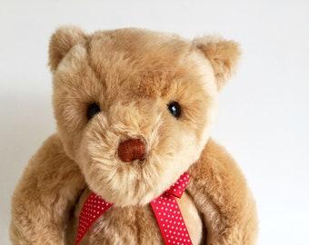 "Vintage Gund Teddy Bear, original polka dot ribbon, 1993, 15"", Stuffed Animal, 1990s plush toy"