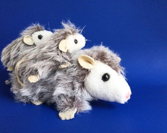 Opossum Mama and Babies, Dakin Nature Babies, Stuffed Animal, Vintage Plush