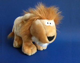 Lion SQUEEZEMS, Stuffed Animal, Fundamentals Too, Makes Noise, 1980s Toy, 1987, Vintage Plush, Grunts