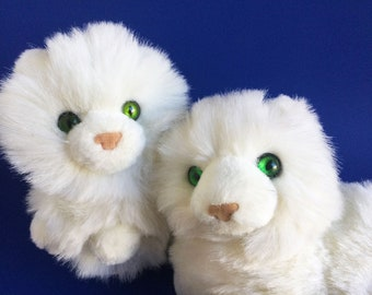 Two Small White Fluffy Cats, Stuffed Animal, Nikki, Russ Berrie, Caress Soft Pets, Kitten, Green Eyes, 1980s Toy, Vintage Plush