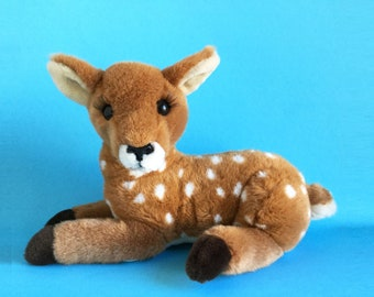 "Deer with Eyelashes, Girl Fawn, Doe, Stuffed Animal, Dakin, 1989 Toy, Vintage Plush, 1980s Toy, 16"""