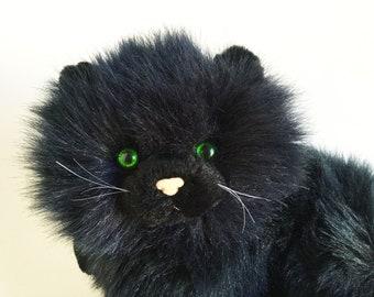 Large Black Fluffy Cat, Nikki, Russ Berrie, Caress Soft Pets, Green Eyes, Soft Fluffy, 1980s Toy, Vintage Plush, Stuffed Animal