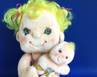 Vintage Precious Hugs Hugga Bunch Plush Doll with Baby Fluffer, 1985 Kenner Hallmark Cards, 17 inch doll, HuggaBunch, 80s Toy