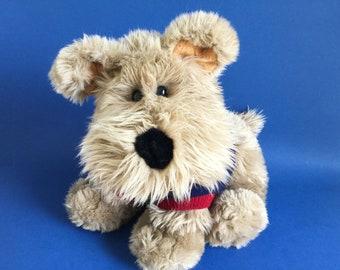 Fluffy Dog with Sweater, Stuffed Animal, Schnauzer, Commonwealth Toy, Vintage Plush