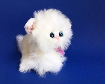 Vintage Tyco Kitty Kitty Kittens, Snowball, Does not purr, 1992, Blue Eyes, Soft Fluffy, White Cat, 1990s Toy Plush