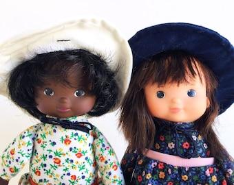 "Two My Friend Dolls, Billie and Bobbie, Fisher Price, Vintage Doll, 1978, 1970s Toy, Lapsitter, Best Friends, 10"""