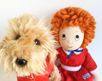 Little Orphan Annie, Sandy Dog, Doll, Stuffed Animal, Knickerbocker, 1980s Toys, Vintage Plush