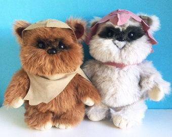 Vintage Set of Ewoks Wicket, Princess Keneesaa, Star Wars, Return of the Jedi, Kenner, 1983 Toy Stuffed Animal