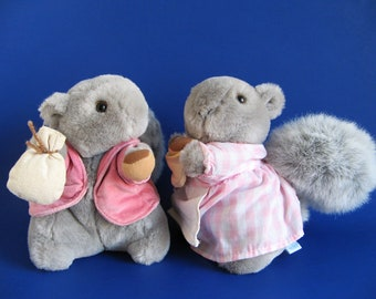 Timmy Tiptoes, Goody Tiptoes, Beatrix Potter, Eden, Gray Squirrel, Stuffed Animal, Vintage Plush