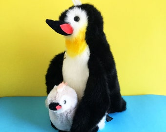 Mother Penguin, Baby Chick, Stuffed Animal, GUND Collector's Classic, Popsie,  1980s Toy, 1989, vintage plush